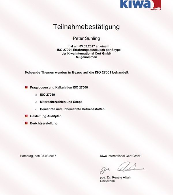 Erfahrungsaustausch für ISO 27001 Auditoren der KIWA International Cert GmbH aus Hamburg