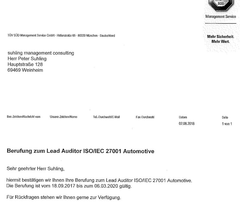 Berufung zum ISO 27001 Lead Auditor Automotive